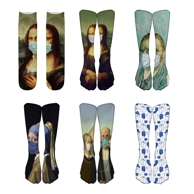 Женские носки с 3D принтом, разноцветные забавные Женские носочки van gogh, Прямая поставка|Носки|   | АлиЭкспресс