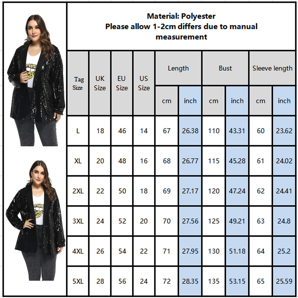 Autumn Women Sequins Blazer Large Size New Office style Female Casual Lapel Long Sleeve Party Club Shiny Jacket Coat L-5XL D30