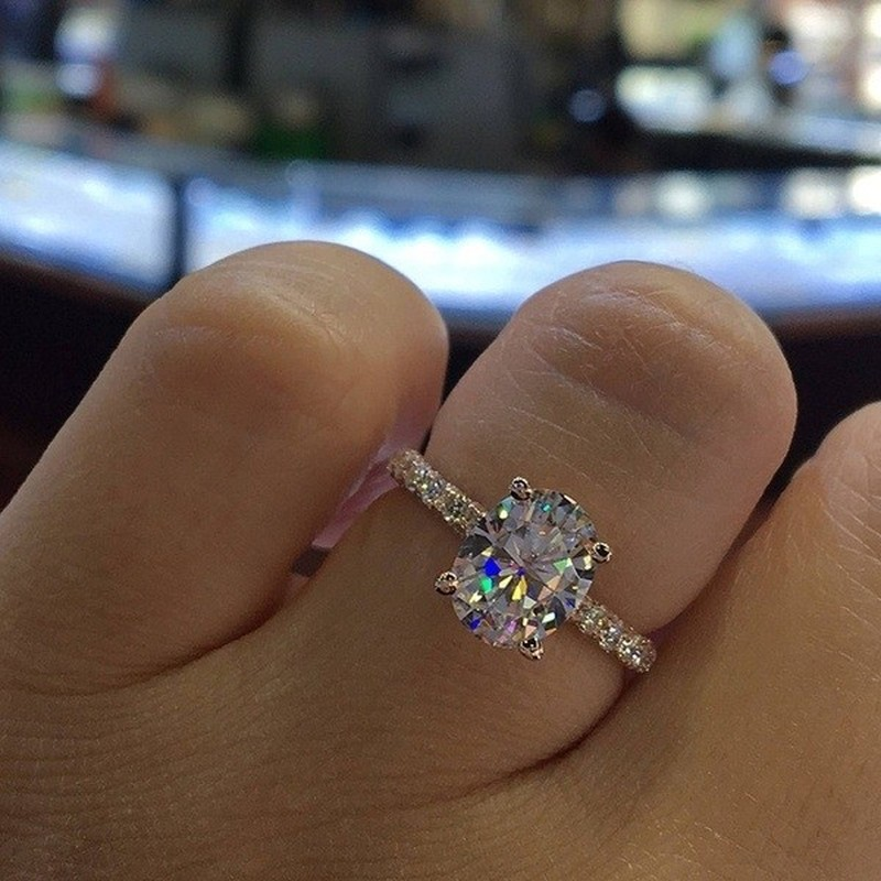 4Colors Princess Luxury Propose Trendy Sparkling Round Cut Zircon Ring Set Women Brilliant Shiny Stone Wedding Rings Teen Girls