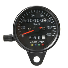 For Honda 1PC 12V Retro Motorcycle Dual Odometer Speedometer High Quality Speedo Meter Gauge LED Light MAYITR