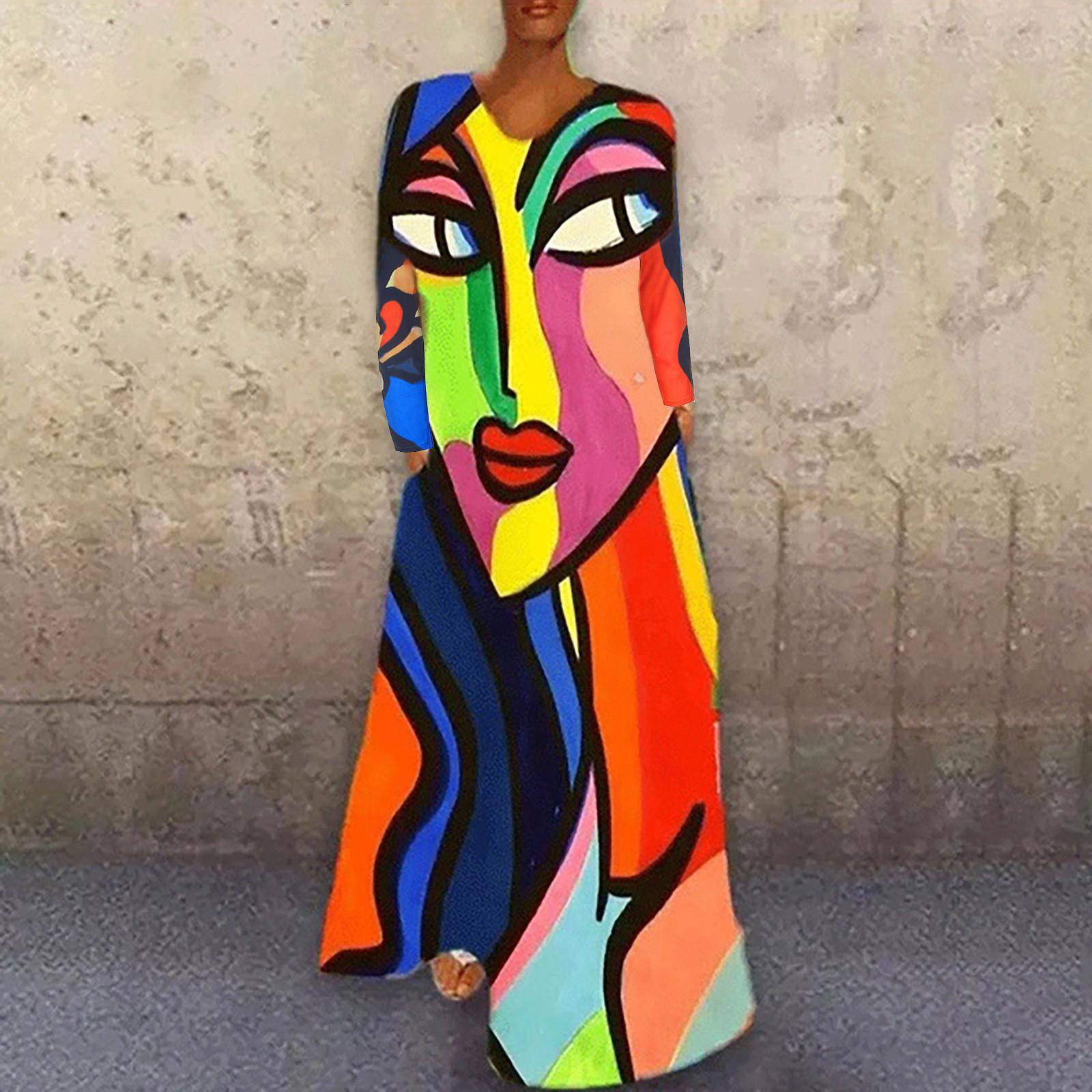 4# Elegant Vintage Dress Women Creative Print Casual Long Sleeve O neck Loose Dresses Plus Size Slim Dresses Vestidos De Fiesta