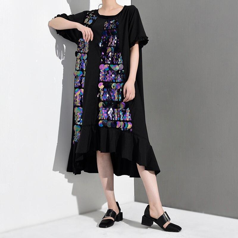 [EAM] 2020 New Spring Summer Round Neck Short Sleeve Black Sequins Split Joint Long Big Size Dress Women Fashion Tide JR7550