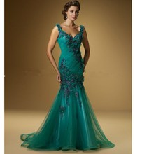Best Selling Mermaid V-Neck Sleeveless Beaded Long Mother Of The Bride Dress With Flowers DE09040