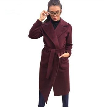 MVGIRLRU Women s coats wool blends women s parkas pockets belted Jackets Brown Coffee black