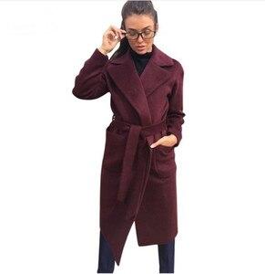 Image 4 - MVGIRLRU/женские пальто из шерсти и смески; Женские парки с карманами; Куртки с поясом; Цвет коричневый, кофейный, черный, розовый; Верхняя одежда