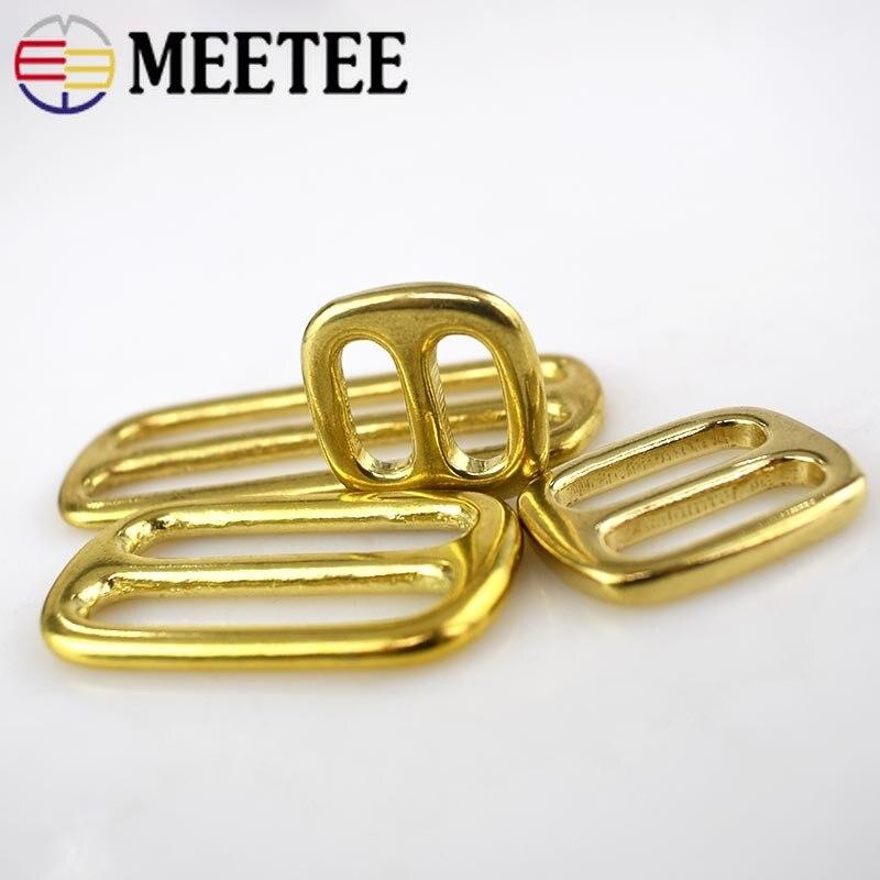 Купить с кэшбэком 4pcs Meetee Solid Brass Tri-ring Slide Adjustable Buckle 13/16/20/25/32/38/50mm Backpack Webbing Straps Bag Sewing Accessories