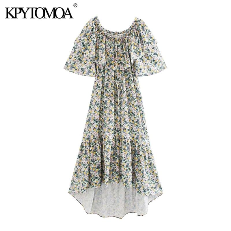 KPYTOMOA Women 2020 Chic Fashion Floral Print Ruffled Midi Dress Vintage O Neck Short Sleeve Irregular Female Dresses Vestidos