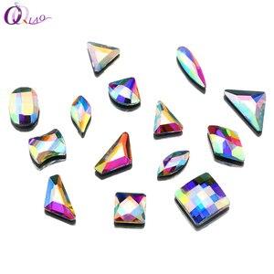 Qiao New Hotfix Rhinestone Multiple Shapes Mix Crystal Glass Crystal AB Flat Bottom Iron On stone(China)