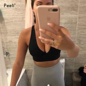 Image 5 - Peeli 高サポートスポーツブラトップ女性ジムブラジャースポーツ bh フィットネスシームレスプッシュアップブラジャーパッド入りスポーツトップアクティブ着用