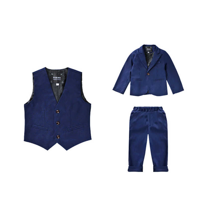 3 PCS Jongens Bruiloft Kleding Blazer Vest Broek kinderen Formele Suits Jurk Kids Party Clohing Sets Blauw Tiener kostuums
