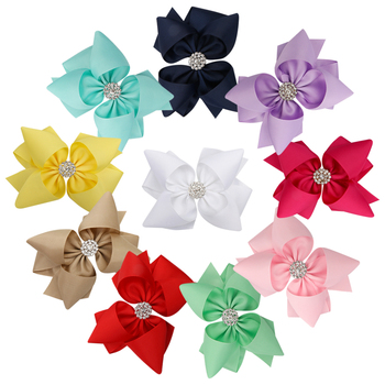 цена на 5'' Solid Ribbon Stacked Hair Bows for Girls with Rhinestone Handmade Bow Hair Clips Princess Style Girls Hair Accessories