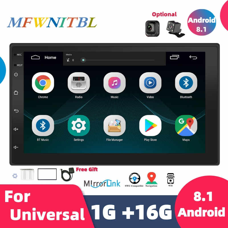 Universele 7 ''Autoradio 2 Din Android Auto Stereo Multimedia Speler Autoradio 2Din Touch Screen Gps Wifi Bluetooth Fm auto Audio