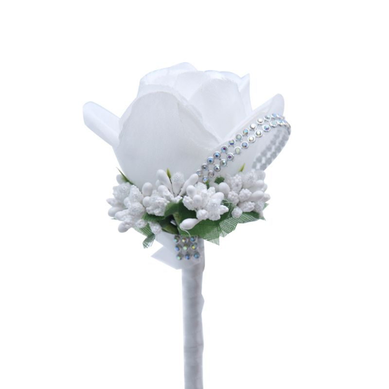 Women Wedding Artificial Rose Flower Brooch Bouquet Glitter Rhinestone Ribbon Prom Boutonniere With Pin CORD