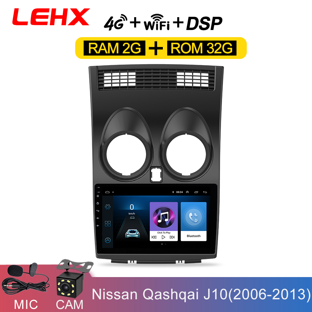 LEHX 2 Din Android 8.1 Car Radio Central Multimidia Player Navigation GPS For Nissan Qashqai 1 J10 2006-2013 2G+32G Auto Radio image
