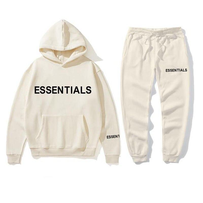 New hoodie suit Men and Women Essentials Kanye Letters Print Sweatshirt+Sweatpant men's Pullover Hoodie Sports Pants tracksuit