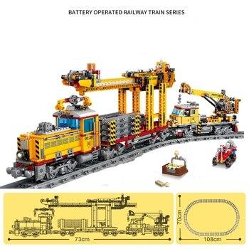 Pociągi klocki miasto utwór maszyna do układania funkcja zasilania Technic stacja kolejowa cegły DIY zabawki dla dzieci prezent na boże narodzenie