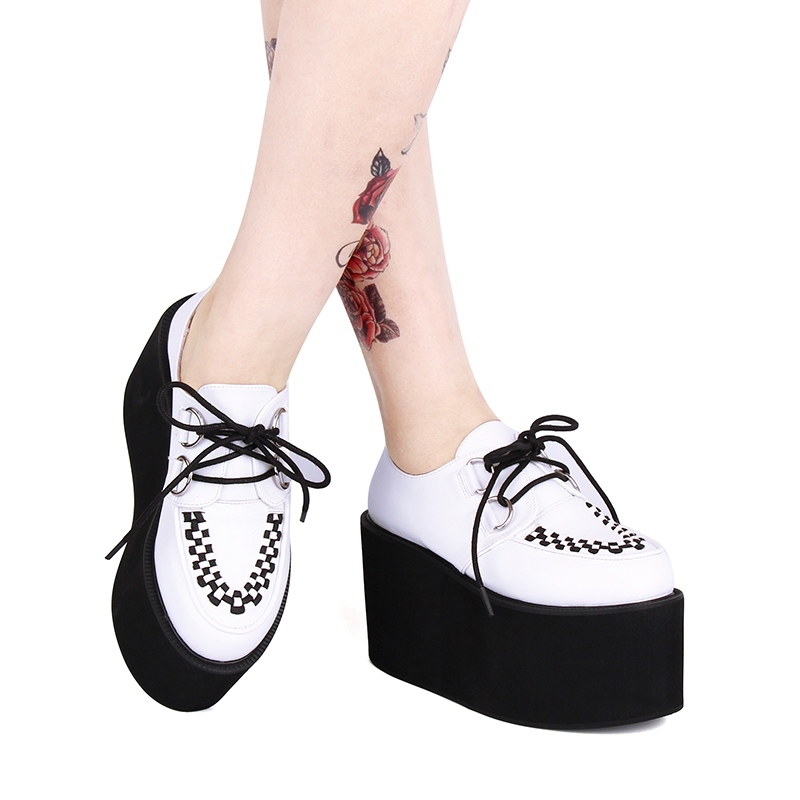 Japan Harajuku Women's Punk Shoes Super High Platform Lace-up Oxfords Leather Shoes