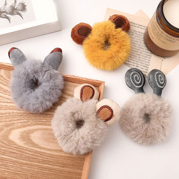 Plush Hairbands Fluffy Furry Hair Band Soft Bear Cat Ears Rubber Band Solid Flower Hair Rope Elastic Hair Accessories image