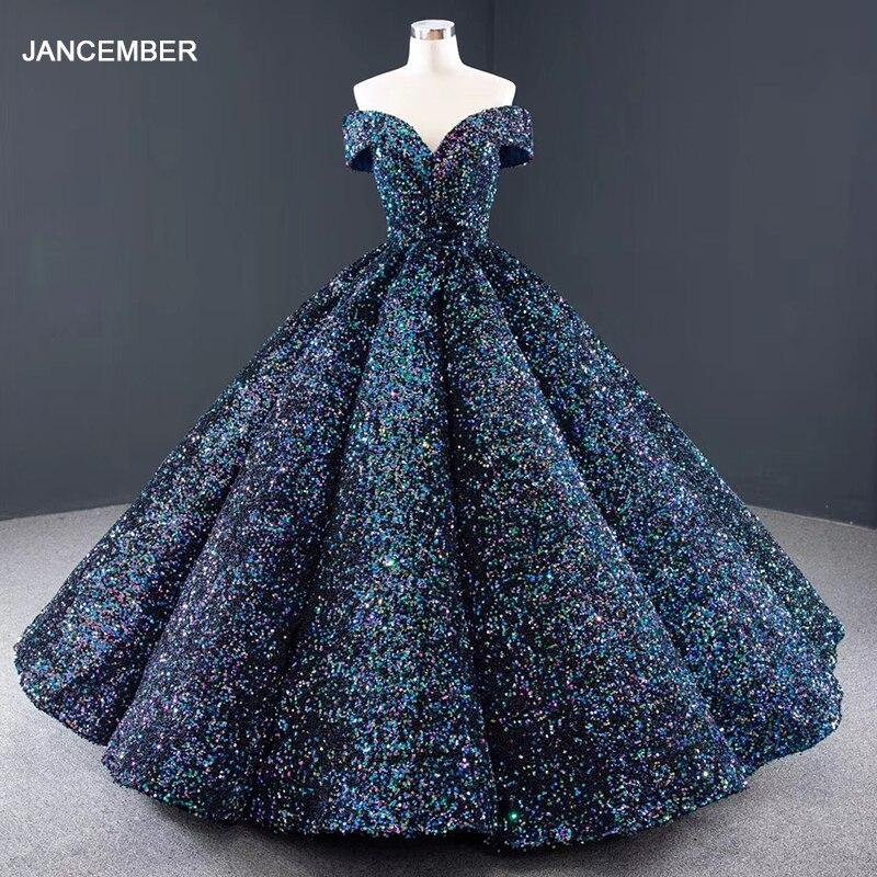J66991 Jancember Party Dresses For Plus Size Women Off Shoulder Sequined Blue Quinceanera Dress Vestido De 15 Anos De Debutante