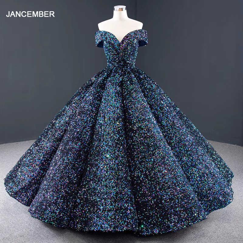 J66991 jancemberブルーquinceaneraのドレススウィートハート半袖オフ肩スパンコールパーティープラスサイズvestido 16