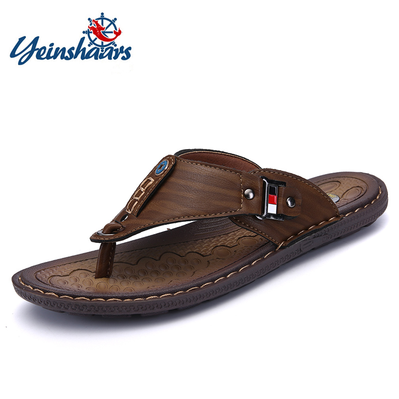 YEINSHAARS Brand Men's Casual Shoes Made Of Leather Sports Shoes For Men Slippers For Slats 2020 Summer Shoes
