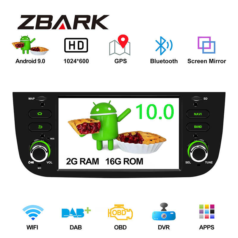 "6.2 ""Android 10.0 Mobil Radio Player GPS WIFI DAB + CANBUS untuk Fiat Punto 199 310/LINEA 323 2012 2013 2014 2015 2016 Yhlymtk"