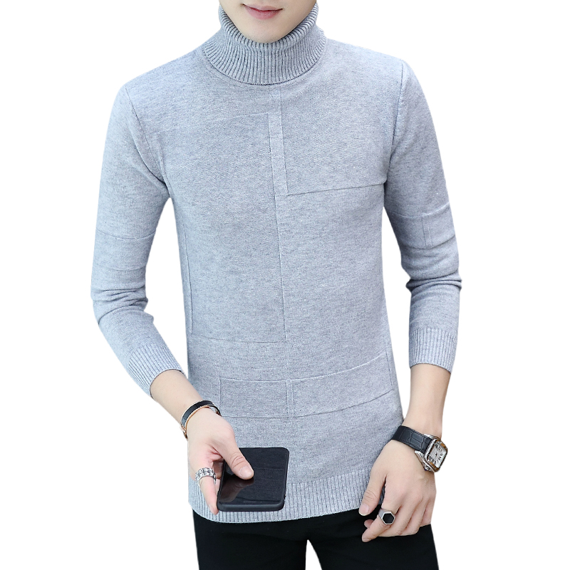 Spring Warm Turtleneck Sweater Men Fashion Solid Knitted Mens Sweaters 2019 Casual Male Double Collar Slim Pullover