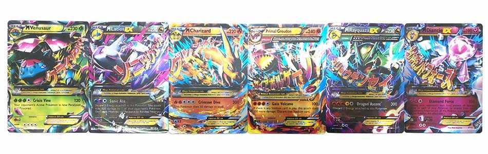 TAKARA TOMY 18 PCS Geen Herhaling Pokemon Engels Kaart Alle EX MEGA Shining Pokemon Franse Card Game Battle Carte Trading kinderen Speelgoed