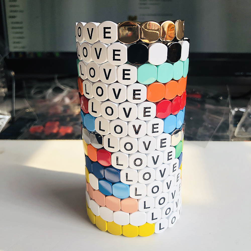 News Vitamin Candy Color Letter LOVE Bohemia Style Handmade Enamel Rainbow Tile Bracelet Colorful Painted Metal Cuff Bracelet(China)