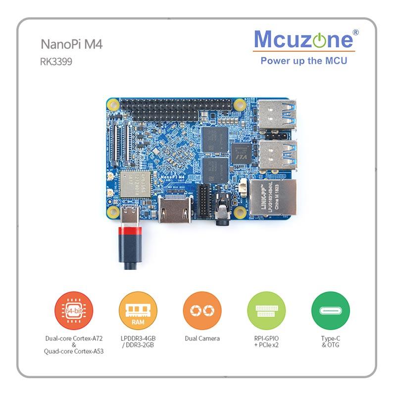 FriendlyELEC NanoPi M4 2GB DDR3 Rockchip RK3399 SoC 2.4G & 5G Dual-band WiFi+Bluetooth 4.1 Supports Ubuntu Android