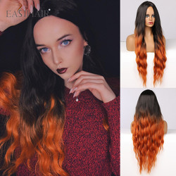 EASIHAIR Long Body Wave Ombre Black Orange Colored Synthetic Wigs for Women Fake Hair Cosplay Lolita Daily Party Heat Resistant