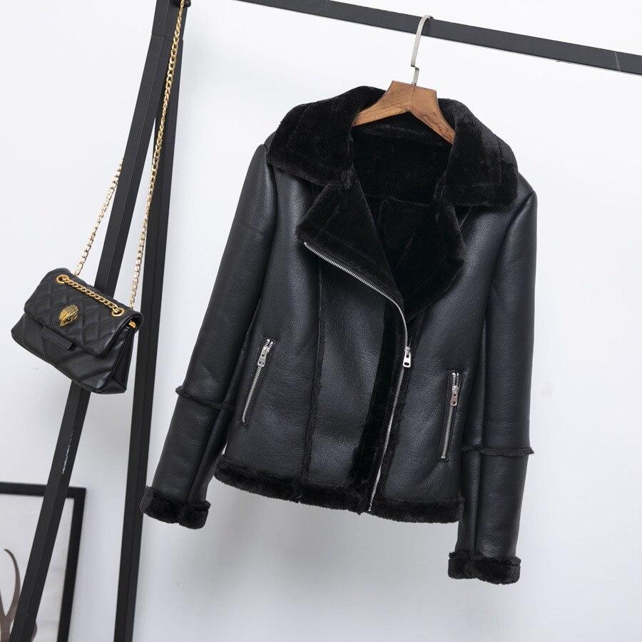 Leather Bomber   Jackets   Women Locomotive Loose Winter Fur Coat Harajuku Streetwear Autumn   Basic     Jacket   Female Outerwear & Coats