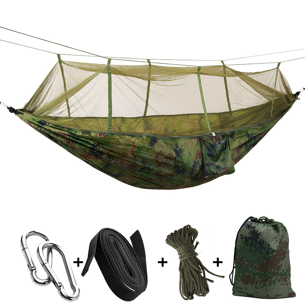 Manufacturers Wholesale Outdoor Double Parachute Cloth Hammock With Mosquito Net Camping Digital Camouflage Dark Green 2.6X1.4