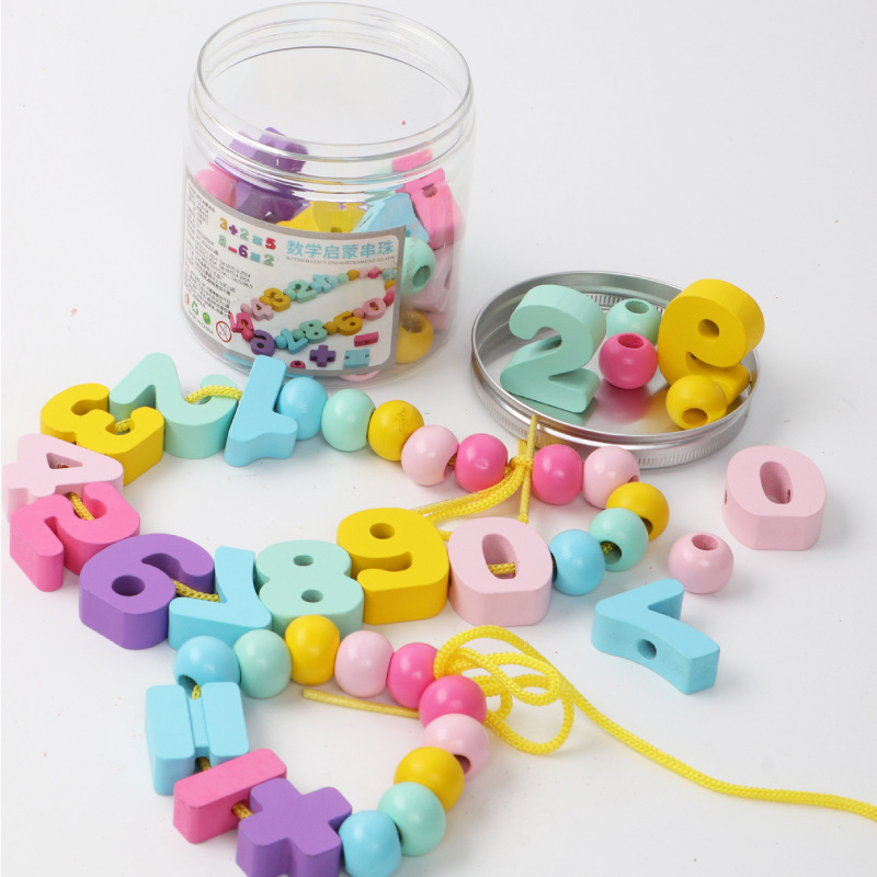 With Numbers Beaded Bracelet ENLIGHTEN Educational Force Development Bead Toy Early Education Threading Building Blocks Baby Nur
