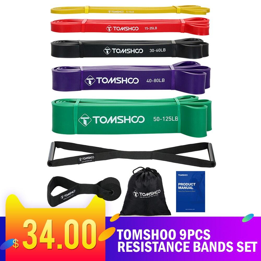 TOMSHOO 9 шт., Набор резинок для фитнеса, эластичная лента для тренировок, фитнес-оборудование