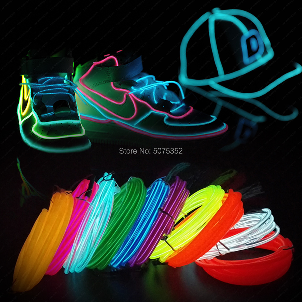 2.3mm Waterproof Neon Light Strip EL Tube Glowing EL Wire Rope Tube Decorative Garden Bedroom Christmas Costume
