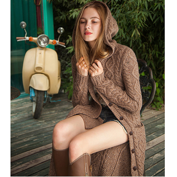 Women's Thick Over the Knee Long Style Hooded Cardigan Sweater 2020 Spring Button Cardigan Sweater Cozy warm Cardigan Sweater 4