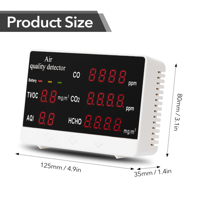 KKMOON Digital Indoor/Outdoor CO/HCHO/TVOC Tester CO2 Meter Air Quality Monitor Detector Multifunctional Household Gas Analyzer