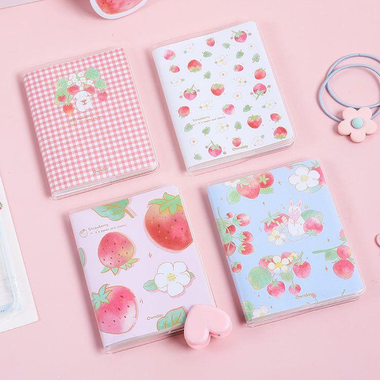 Minkys 58 folhas pvc capa kawaii morango diário para fazer lista bloco de notas portátil mini notebook paperlaria papelaria