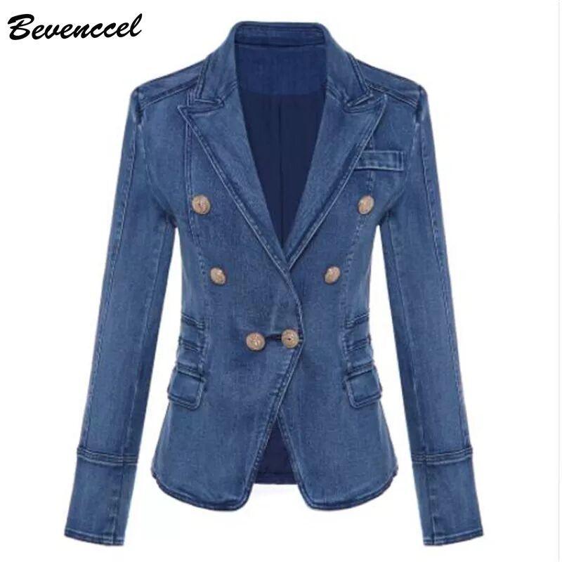 Bevenccel  New Fashion Autumn Winter Blazer Women's  Double Breasted Denim Blazer Jacket Outer Coat 2019