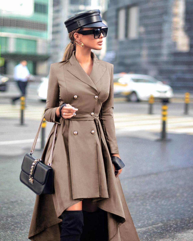 Fashion Long Coat Women Autumn Winter Turn Down Collar Long Sleeve Double-breasted Belt Irregular Trench Coat Elegant Overcoats