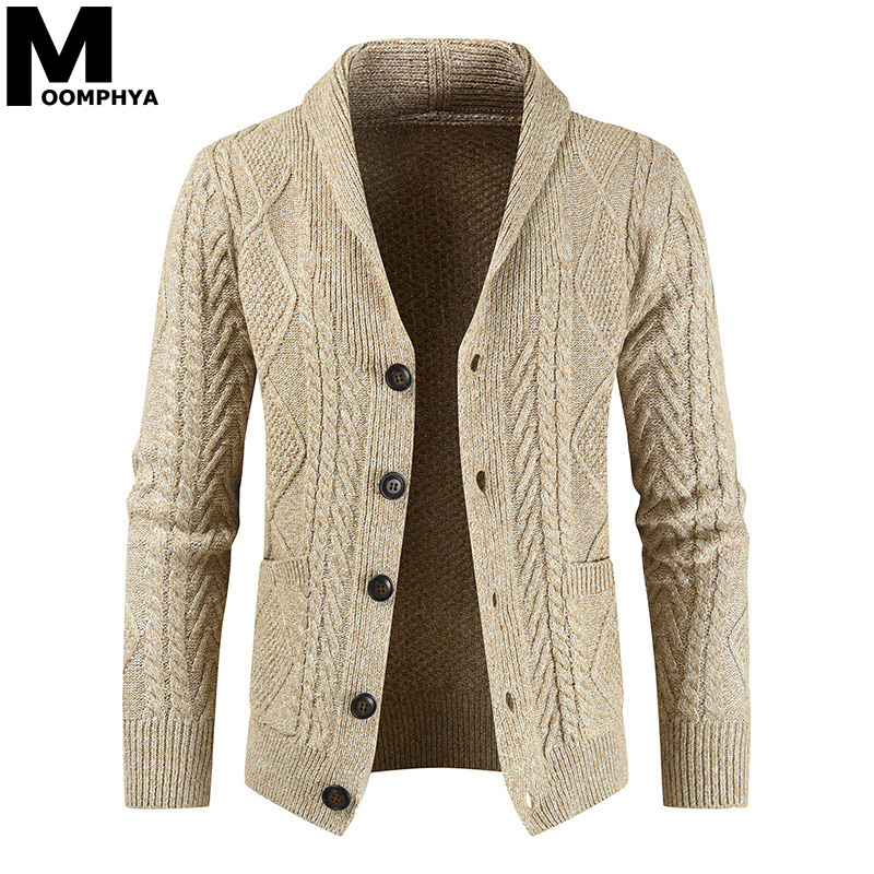 Moomphya Knitted Long Sleeve Cardigan Men Sweater Jacket Streetwear Jacquard Sweater Coat Men 2019 Winter Sweater Men