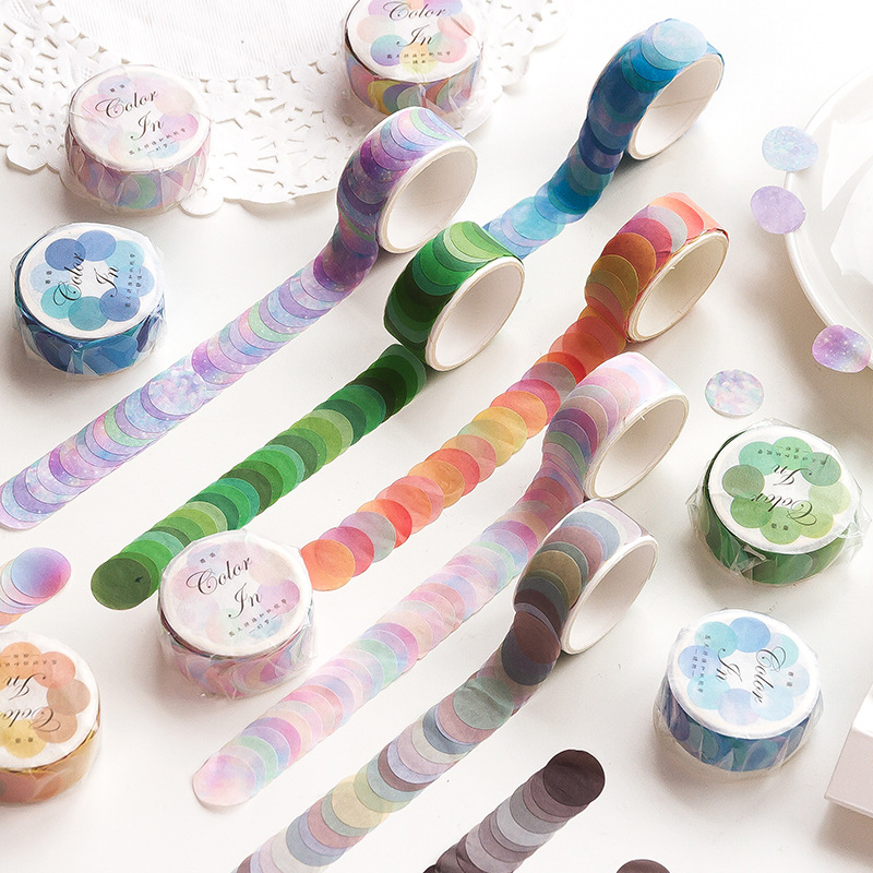 100 pcs /Roll Colorful Gradient Color Circle Round DIY Decorative Masking Tape Stickers