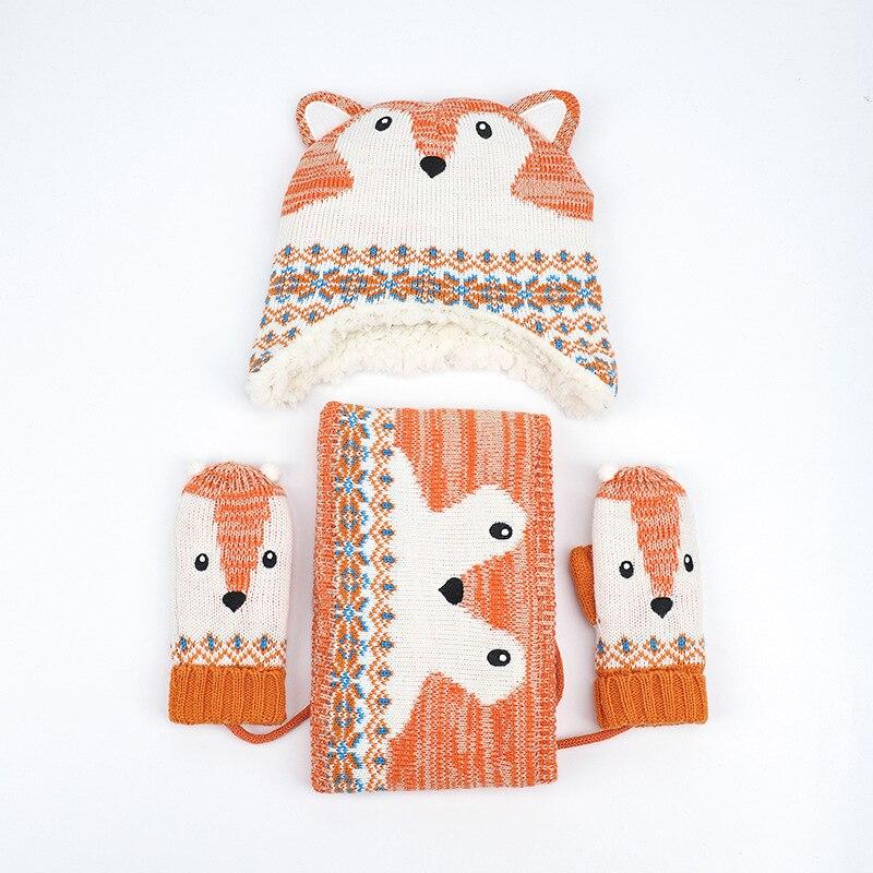 New Winter Cotton Hat Scarf Set Baby Kids Cartoon Knit Cap Children Warm Scarf For Boys Beanies Hats Scarf For Girl Boy 3pcs/Set