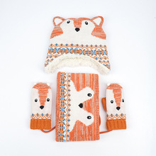 Cap Scarf-Set Hat Beanies Kids Boys Children Winter New Cartoon Cotton for Knit Warm