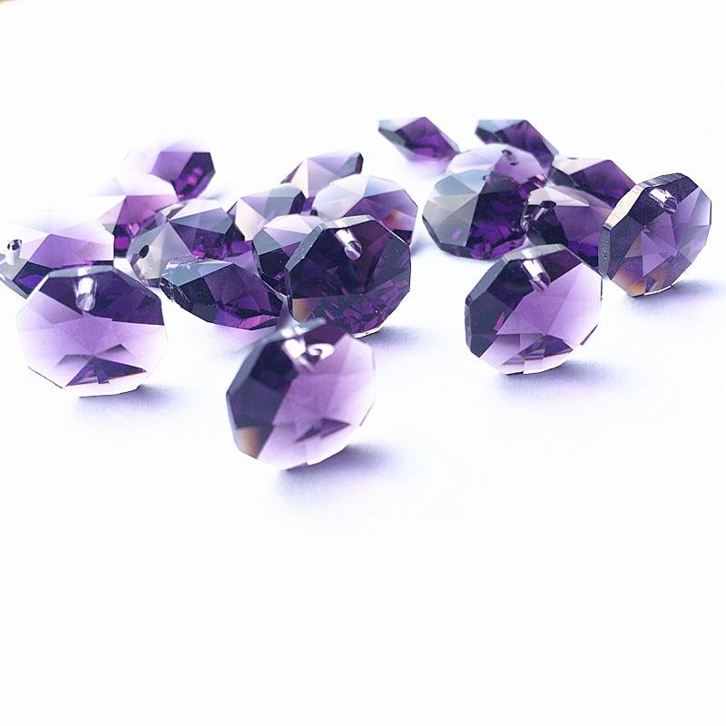 Высокое качество 20 шт./лот многоцветный 14 мм хрустальные Восьмиугольные бусины в одном отверстии K9 кристаллы части для люстры аксессуары DIY Свадебные и x-дерево украшения - Цвет: Violet
