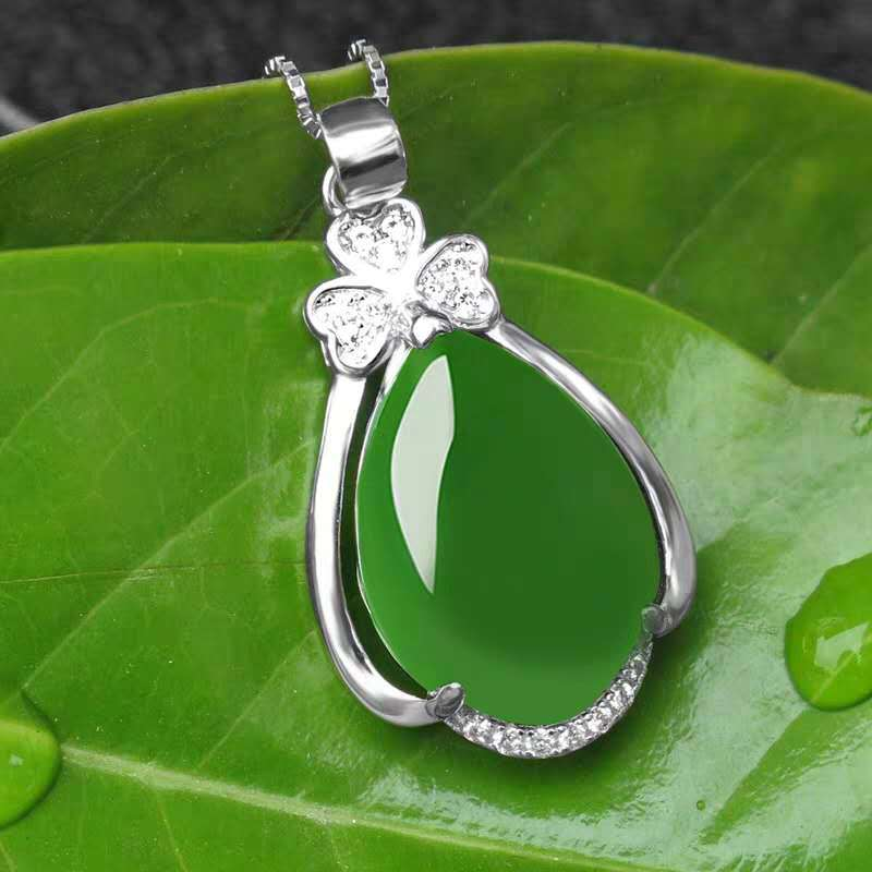 Retro Natural Green Hetian Jade Pendant 925 Silver Necklace Chinese Jadeite Amulet Fashion Charm Jewelry Gifts For Women Her