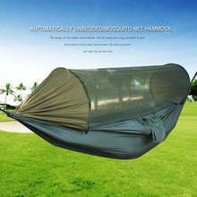 280*140cm Portable Outdoor Hammock with Mosquito Net Fabric High Strength Hanging Bed for Sleeping Swing Camping hangmat ערסל