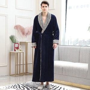 Image 5 - Mężczyźni zima Plus rozmiar długi przytulne flanelowe szlafrok Kimono ciepły koral polar szlafrok noc futro szaty szlafrok bielizna nocna dla kobiet