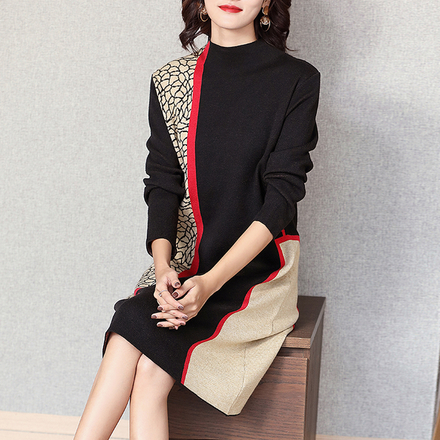 Fashion show thin knitting dress long sleeves loose female in the new winter long knee-length hair dress 2